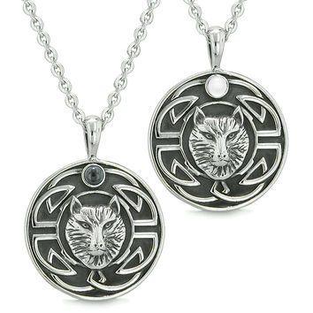 Amulets Love Couple or Best Friends Celtic Viking Wolf Simulated Onyx White Cats Eye Pendant Necklaces