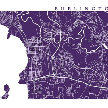 Burlington Map Print, Vermont Art Poster