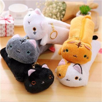 Children Cartoon Cat Soft Plush Kids Pencil Bag Pen Case Pouch