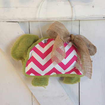 Pink Chevron Turtle Burlap Door Hanger, Personalized