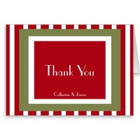 Personalized Thank You, Holiday Colors/Stripes Greeting Card
