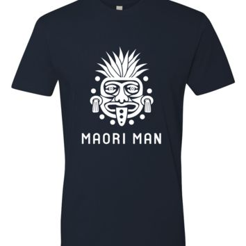 Men's Official Maori Tribesman Navy Tee - White Graphics