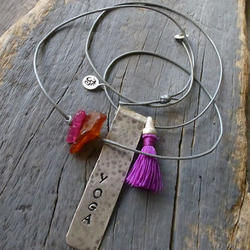 "Sterling Silver, Word Necklace,""YOGA"" , Hand stamped necklace, Tassel, Hippie, Boho, OM necklace. Layering necklace, Tag necklace."