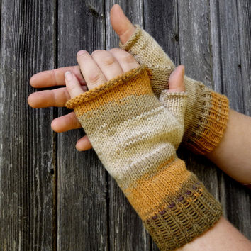 Knit fingerless gloves, knitted colorful arm warmers, men hand warmers, women wrist warmers, knitting gauntlets, khaky sand mitts, mittens