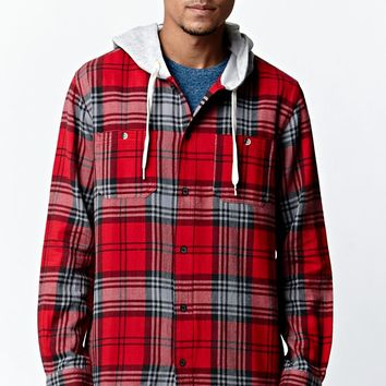 Modern Amusement Long Sleeve Hooded Flannel Shirt - Mens Shirt - Red