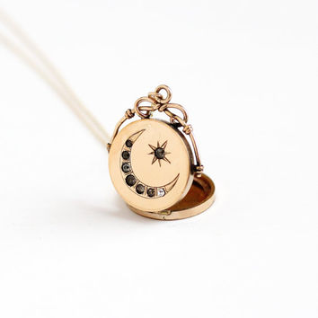 Antique Star & Crescent Moon Rhinestone Locket Necklace - Round Fob Victorian Edwardian Early 1900s 10k Gold Filled Pendant Jewelry