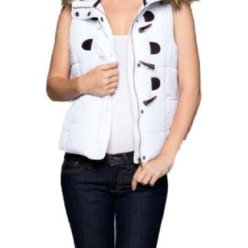 Padded Puffer Vest w/fur, White (Size S)