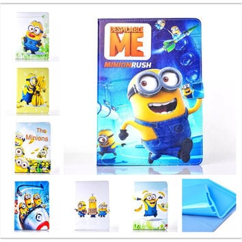 new Anime Cartoon Despicable Me Minion Flip Stand PU Leather Case Cover For Apple Ipad mini mini 2 mini 3 tablet Protector case