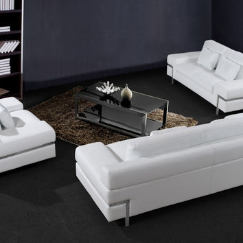 Divani Casa Clef - Modern White Leather Sofa Set