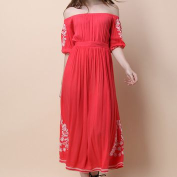 Boho Nymph Off-shoulder Maxi Dress in Coral