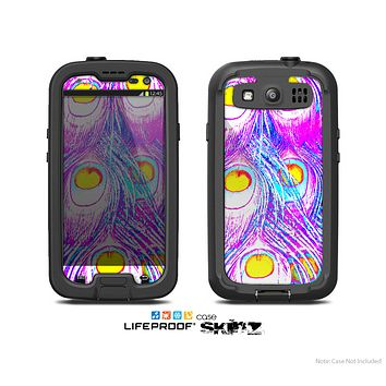 The Neon Pink & Turquoise Peacock Feather copy Skin For The Samsung Galaxy S3 LifeProof Case