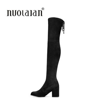 2017 Autumn Winter Women Boots Stretch Faux Suede Slim Thigh High Boots Fur Warm Over the Knee Boots High Heels Shoes Woman
