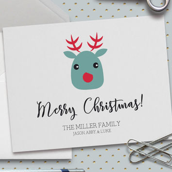 Personalized Christmas Card, Rudolph Christmas Card, Merry Christmas, Custom Family Names, Happy Holidays, 5.5 x 4.25 Inch (A2)