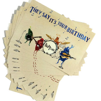Pack of 20 Funny Beatles Happy Birthday Postcards, Twenty Beetles Bday Musical Oldies Cards, 20 Pack Classic Rock Birthday Wishes Postcard,