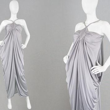Vintage 70s Grecian Dress Goddess Dress Maxi Evening Gown Draped Dress Slinky Jersey Dress Silver Maxi Grey 1970s Dress Studio 54 Red Carpet