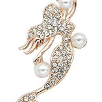 GynampJoy Woman Fashion Jewelry Mermaid Crystal Brooch Pins Clothes Accessorie With Pearl BZ015