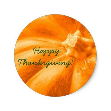 Pretty Orange Pumpkin Happy Thanksgiving Classic Round Sticker