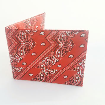 Small Red Bandana Men's Bifold Wallet, Cool Kid's Duct Tape Wallet, Men Kids Stocking Stuffers