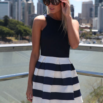Black and White Sleeveless Striped Skater Dress