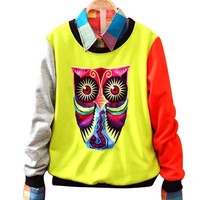 Owl Print Sweat Shirt With Collar