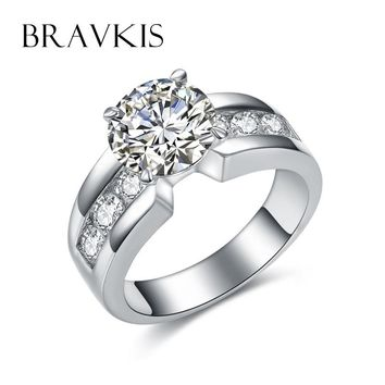 BRAVKIS big crystal rings for women finger zircon band ring solitaire wedding band for women jewelry anillos bague mujer BUR0332