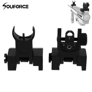 Hot Tactical Hunting Iron Flip Up Front & Rear Sight Low profile folding design Dual Apertures for most Picatinny Weaver rails