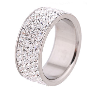 Seduc Romantic 8mm Stainless Steel Engagement Wedding Bands For Women Ca1034