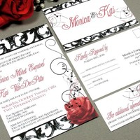 Hollywood Glamour | Vintage Wedding Invitation Suite by RunkPock Designs | Music Notes Rose Floral Swirl Damask Script Design | shown in lipstick red and black