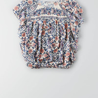 AEO Flutter Sleeve Bubble Top , Multi | American Eagle Outfitters