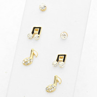 Music Note Stud Earrings Black