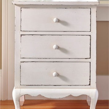 White Distressed Dresser with Drawers