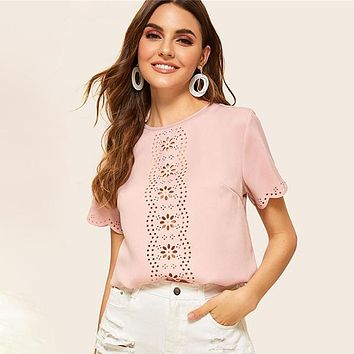 Scallop Trim Laser Cut Top Solid Casual Cute Blouse Women Short Sleeve Keyhole Back Womens Tops Blouses
