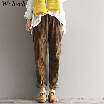 Woherb S-3XL 2017 Women Corduroy Pants Autumn Winter Vintage Fashion Pleated Straight Trousers Casual Elastic Waist Pant 73363