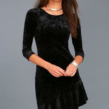 Gonna Be Alright Black Velvet Bodycon Midi Dress
