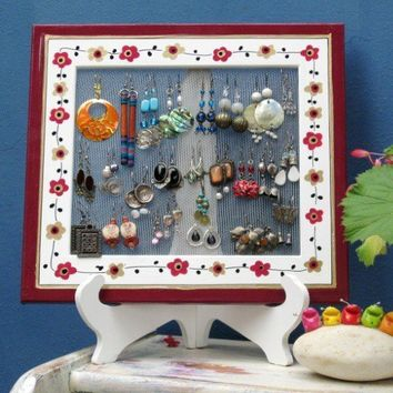 WOODEN EARRING HOLDER On a Stand  Its All In The by tammnoony