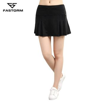 FASTORM Women Tennis Skorts 2 In 1 Pleated Breathable Running Skirts Fitness Quick Dry Golf Training Sportswear