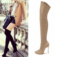 2017 New Spring Fashion over the knee boots breathable PU women boots shoes woman high heels fashion thigh high boots
