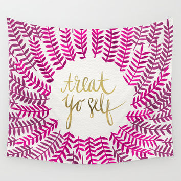 Treat Yo Self – Pink & Gold Wall Tapestry by Cat Coquillette