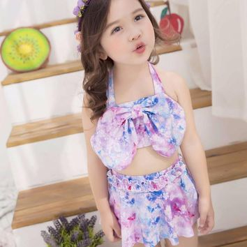 High Quality Children Two Piece Bikinis Suit Girl Printed Skirted Swimwear Cute Bowknot Swimsuit Bathing Suit Maillot De Bai