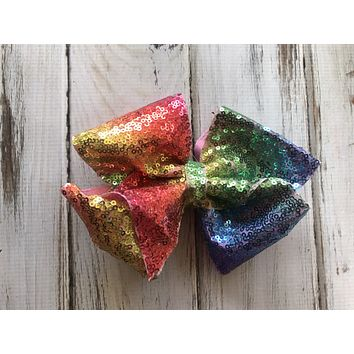 Large Rainbow Sequin Glitter Bow