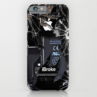 Broken, rupture, damaged, cracked black apple iPhone 4 5 5s 5c, ipad, pillow case and tshirt iPhone & iPod Case by Three Second