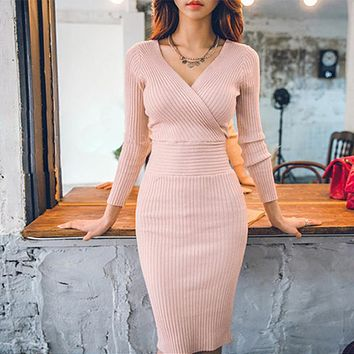 Autumn Women Knitted Cotton Skinny Sweater Dresses V-neck Casual Slim Hip Packaged Soft Dress Pink Vestidos Female High Quality