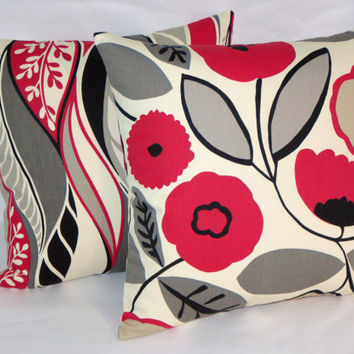 """Red Grey Black Pillow, Mod Floral and Leaf, Richloom, Reversible, Mid Century Retro, 17"""" Square Cotton, Cover & Insert Included, Ready Ship"""