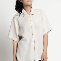 Vintage 90s Natural Tan Oversized Woven Short Sleeve Shirt | M