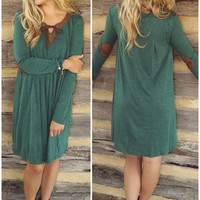 Into The Woods Green Knit Long Sleeve Dress With Brown Suede Collar & Elbow Patches
