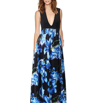 Deep V-Neck Flora Print Maxi Dress