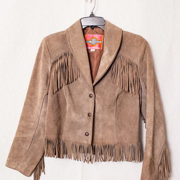Women's Suede Fringe Leather Jacket, Hippie Western Boho Fringe Suede Jacket, Womens Medium Hippy Fringe Jacket, Ladies Rodeo Fringe Jacket