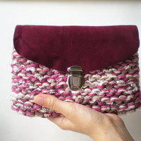 Purple Knitted Leather Clutch Bag with Multicolored Yarn, Boho Women's accessories