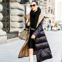 Europe Latest Fashion Women Winter Long coat Stand collar Thickening Super Warm Down jacket Super Slim Big yards Long Coat G2018