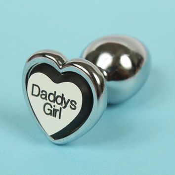 Daddy's Girl heart BDSM DDLG butt plug - Engraved stainless steel anal butt plug. Perfect for littles, ABDL or ddlg's.